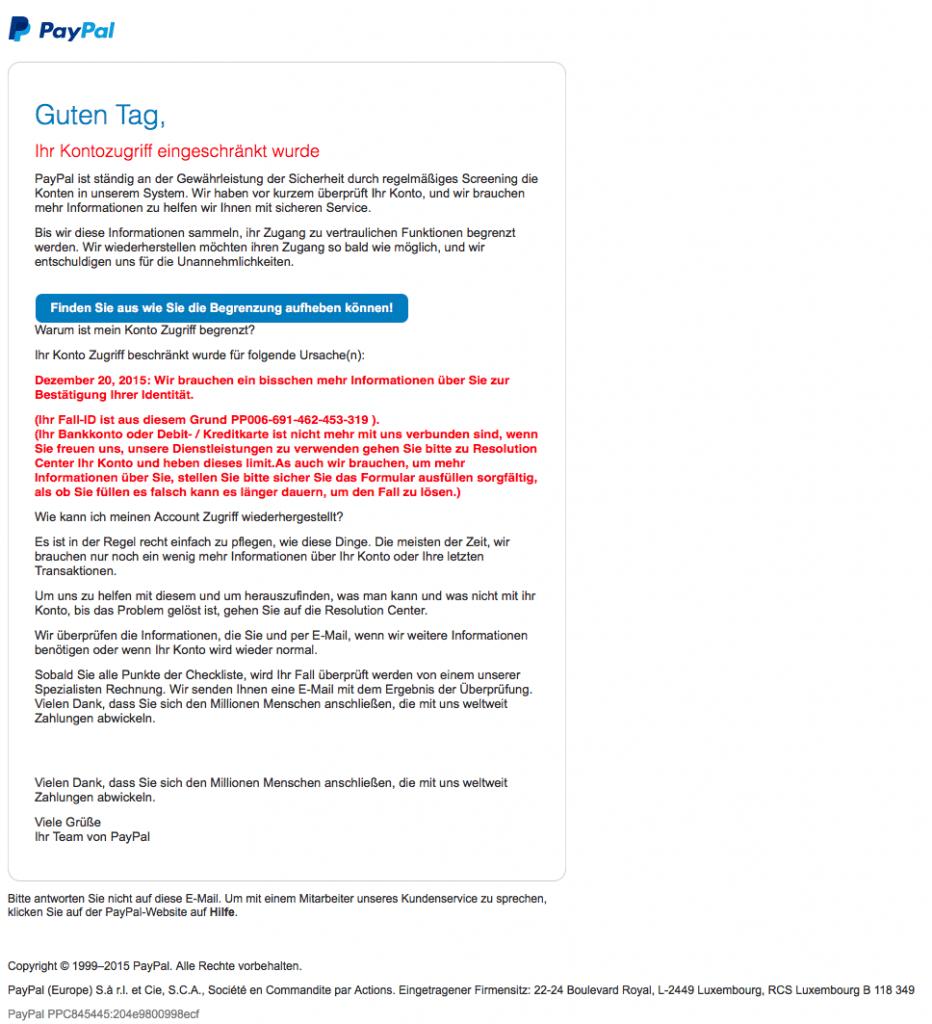 Bild der Paypal Phishing Mail