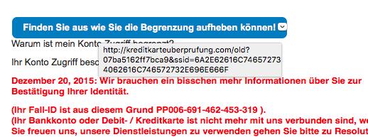 Link einer Paypal Phishing Mail